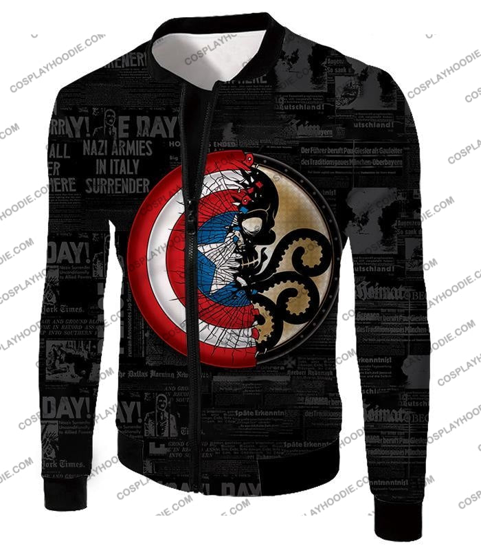 Amazing Captain America Vs Hydra Promo Black T-Shirt Ca019 Jacket / Us Xxs (Asian Xs)
