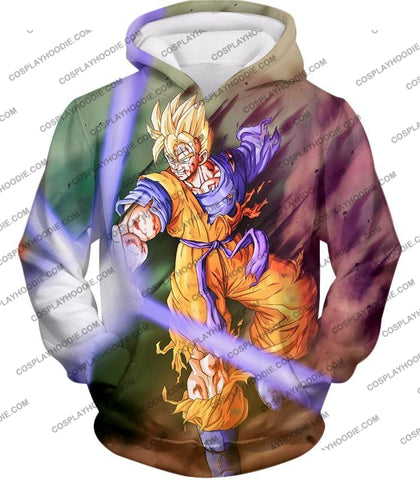 Image of Dragon Ball Super Awesome Saiyan Goku One Handed Battle Action T-Shirt Dbs190 Hoodie / Us Xxs (Asian