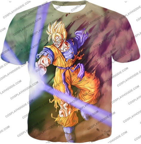 Image of Dragon Ball Super Awesome Saiyan Goku One Handed Battle Action T-Shirt Dbs190 / Us Xxs (Asian Xs)