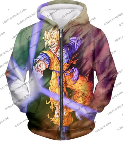 Image of Dragon Ball Super Awesome Saiyan Goku One Handed Battle Action T-Shirt Dbs190 Zip Up Hoodie / Us Xxs