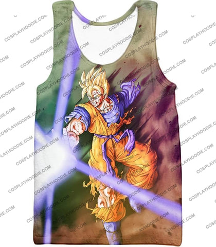 Image of Dragon Ball Super Awesome Saiyan Goku One Handed Battle Action T-Shirt Dbs190 Tank Top / Us Xxs