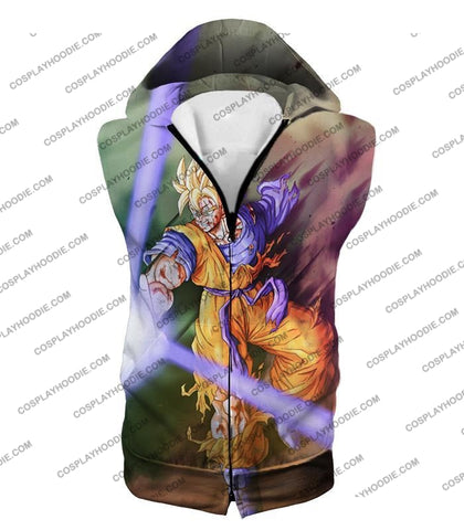 Image of Dragon Ball Super Awesome Saiyan Goku One Handed Battle Action T-Shirt Dbs190 Hooded Tank Top / Us