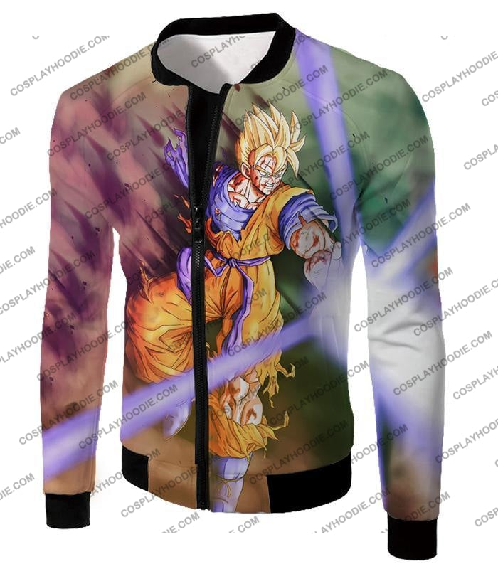 Dragon Ball Super Awesome Saiyan Goku One Handed Battle Action T-Shirt Dbs190 Jacket / Us Xxs (Asian