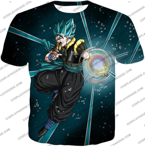 Image of Dragon Ball Super Awesome Xeno Gogeta Saiyan Blue Cool Anime Action T-Shirt Dbs194 / Us Xxs (Asian