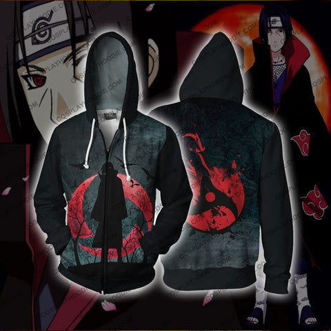 Image of Itachi Uchiha Sharingan Zip Up Hoodie Cosplay Jacket