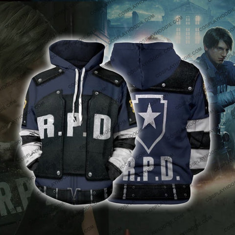 Image of Resident Evil 2 Leon Scott Kennedy Rpd Cosplay Hoodie Jacket