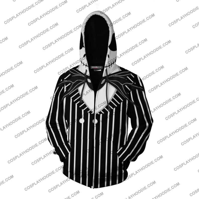 The Nightmare Before Christmas Jack Skellington Hoodie Cosplay Jacket Zip Up