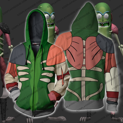 Image of Rick And Morty Pickle Hoodie Cosplay Jacket Zip Up