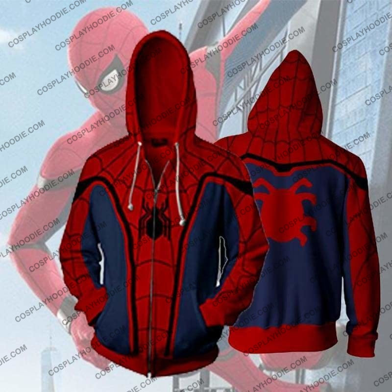 Spiderman Classic Zip Up Hoodie Jacket Cosplay