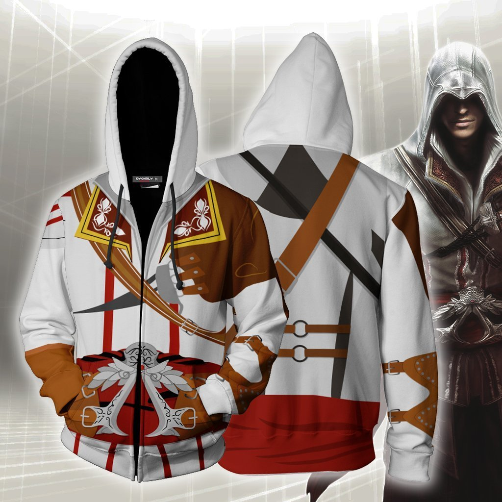 Assassins Creed Ii Altair Ibn-Laahad Hoodie Cosplay Jacket Zip Up / Us Xs (Asian S)