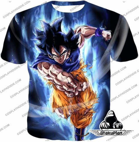 Image of Dragon Ball Super Gokus Ultra Instinct Form Awesome Action Black Anime T-Shirt DBS211-OtakuPlan