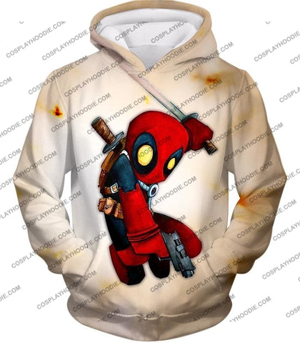 Image of Cool Deadpool Funny Figure Action White T-Shirt Dp002 Hoodie / Us Xxs (Asian Xs)