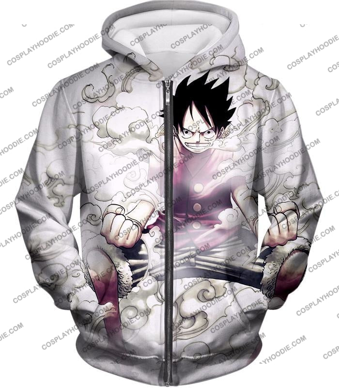 One Piece Cool Pirate Hero Monkey D Luffy Action White T-Shirt Op002 Zip Up Hoodie / Us Xxs (Asian