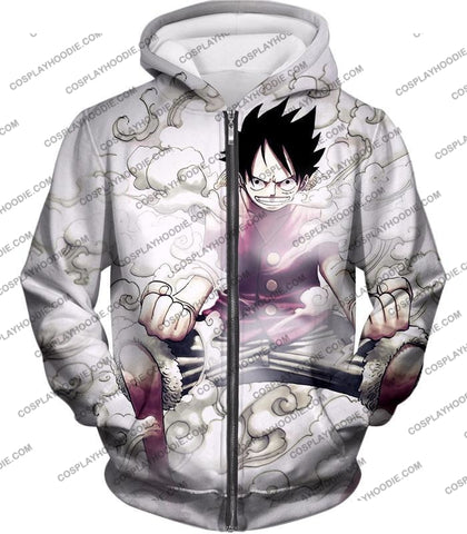 Image of One Piece Cool Pirate Hero Monkey D Luffy Action White T-Shirt Op002 Zip Up Hoodie / Us Xxs (Asian