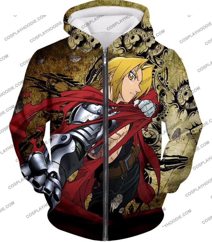 Fullmetal Alchemist Powerful Edward Elrich Featuring Automail Right Hand Cool Action T-Shirt Fa002