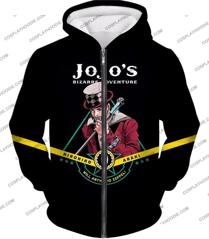 Will Anthonio Zappeli Black Anime T-Shirt Jo002 Zip Up Hoodie / Us Xxs (Asian Xs)