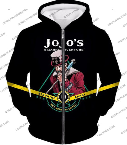 Image of Will Anthonio Zappeli Black Anime T-Shirt Jo002 Zip Up Hoodie / Us Xxs (Asian Xs)