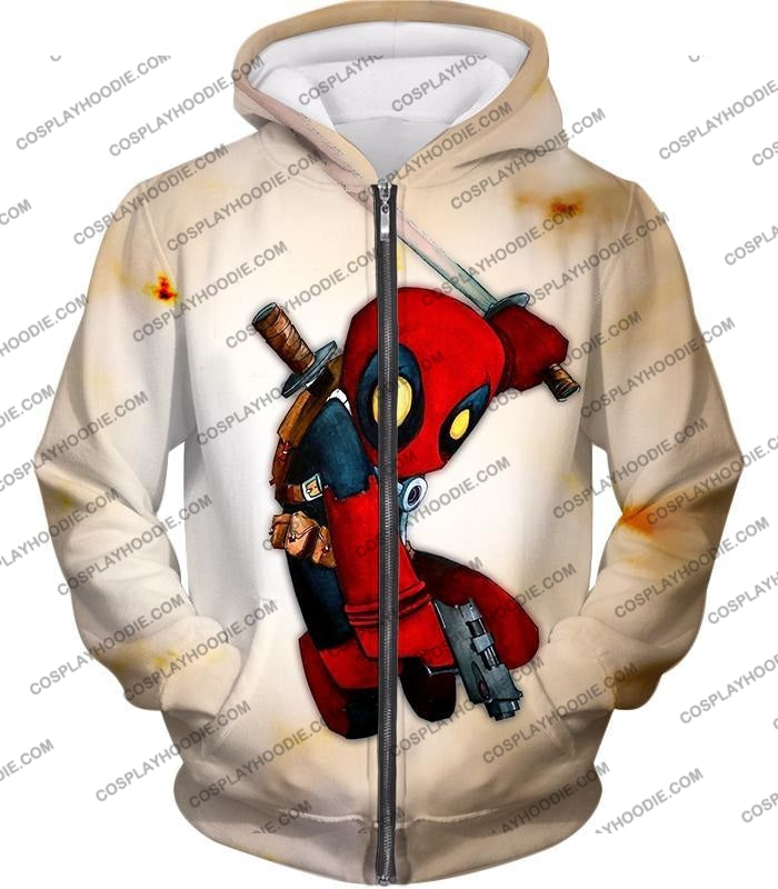 Cool Deadpool Funny Figure Action White T-Shirt Dp002 Zip Up Hoodie / Us Xxs (Asian Xs)