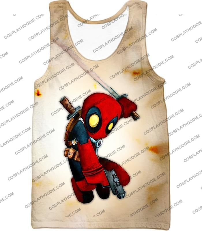 Cool Deadpool Funny Figure Action White T-Shirt Dp002 Tank Top / Us Xxs (Asian Xs)