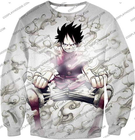Image of One Piece Cool Pirate Hero Monkey D Luffy Action White T-Shirt Op002 Sweatshirt / Us Xxs (Asian Xs)