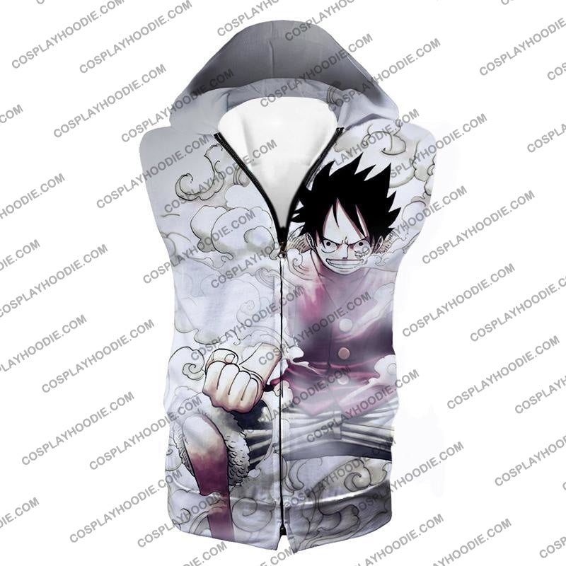 One Piece Cool Pirate Hero Monkey D Luffy Action White T-Shirt Op002 Hooded Tank Top / Us Xxs (Asian