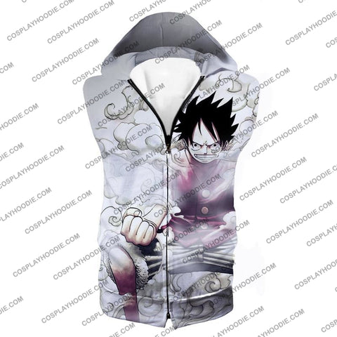 Image of One Piece Cool Pirate Hero Monkey D Luffy Action White T-Shirt Op002 Hooded Tank Top / Us Xxs (Asian
