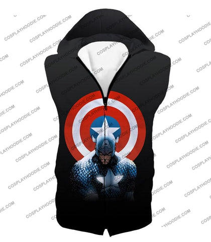 Image of Amazing Hero Captain America Promo Black T-Shirt Ca002 Hooded Tank Top / Us Xxs (Asian Xs)
