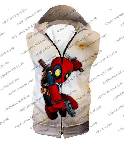 Image of Cool Deadpool Funny Figure Action White T-Shirt Dp002 Hooded Tank Top / Us Xxs (Asian Xs)