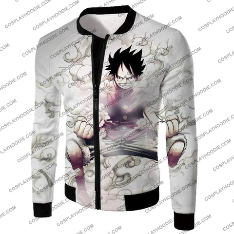 Image of One Piece Cool Pirate Hero Monkey D Luffy Action White T-Shirt Op002 Jacket / Us Xxs (Asian Xs)