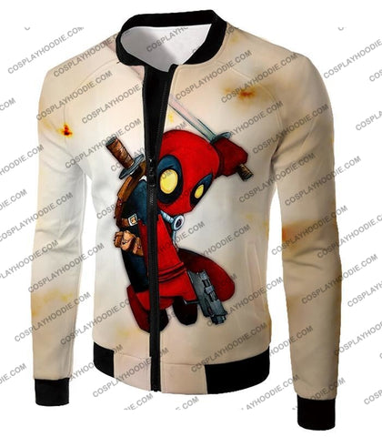 Image of Cool Deadpool Funny Figure Action White T-Shirt Dp002 Jacket / Us Xxs (Asian Xs)