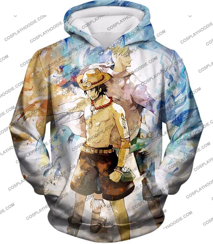 One Piece Whitebeard Pirates Fire Fist Ace And Marco The Phoenix Action T-Shirt Op020 Hoodie / Us