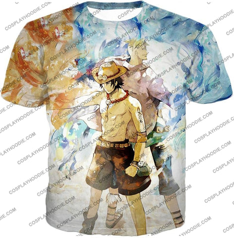 Image of One Piece Whitebeard Pirates Fire Fist Ace And Marco The Phoenix Action T-Shirt Op020 / Us Xxs