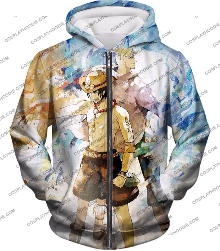 One Piece Whitebeard Pirates Fire Fist Ace And Marco The Phoenix Action T-Shirt Op020 Zip Up Hoodie