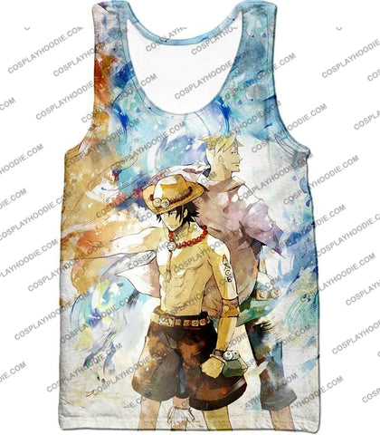 Image of One Piece Whitebeard Pirates Fire Fist Ace And Marco The Phoenix Action T-Shirt Op020 Tank Top / Us