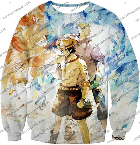 Image of One Piece Whitebeard Pirates Fire Fist Ace And Marco The Phoenix Action T-Shirt Op020 Sweatshirt /