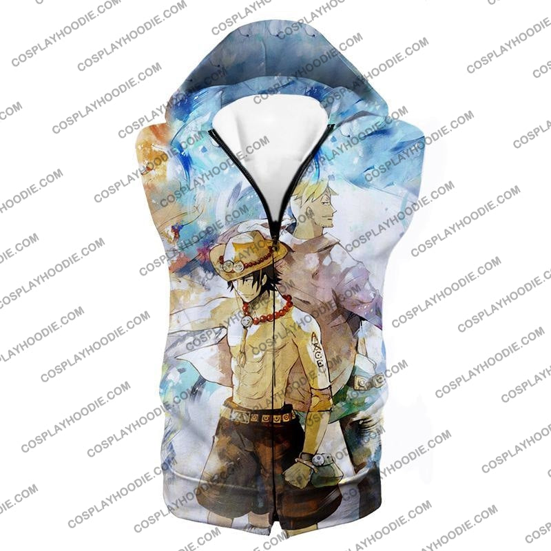 One Piece Whitebeard Pirates Fire Fist Ace And Marco The Phoenix Action T-Shirt Op020 Hooded Tank