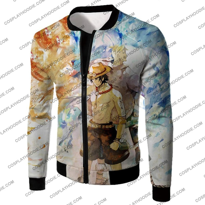 One Piece Whitebeard Pirates Fire Fist Ace And Marco The Phoenix Action T-Shirt Op020 Jacket / Us