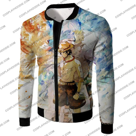 Image of One Piece Whitebeard Pirates Fire Fist Ace And Marco The Phoenix Action T-Shirt Op020 Jacket / Us