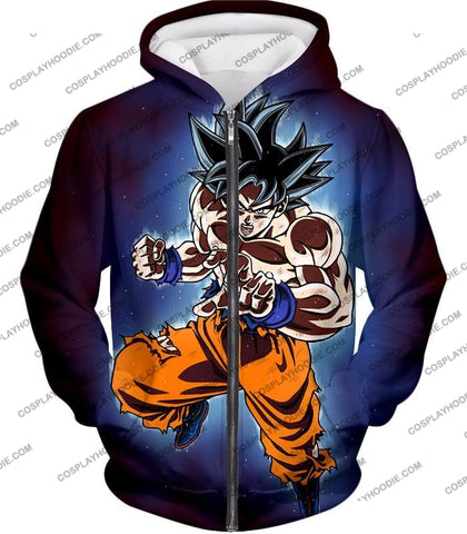 Image of Dragon Ball Super Incredible Goku Ultra Instinct Mode Awesome Action T-Shirt Dbs200 Zip Up Hoodie /