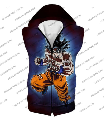 Image of Dragon Ball Super Incredible Goku Ultra Instinct Mode Awesome Action T-Shirt Dbs200 Hooded Tank Top