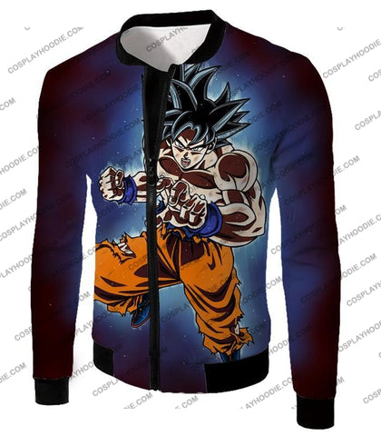 Image of Dragon Ball Super Incredible Goku Ultra Instinct Mode Awesome Action T-Shirt Dbs200 Jacket / Us Xxs