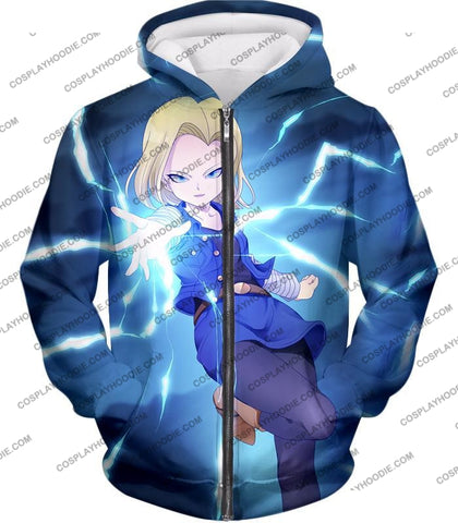 Image of Dragon Ball Super Extremely Pretty Android 18 Cool Fighter Anime Blue T-Shirt Dbs202 Zip Up Hoodie /