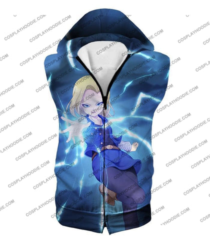 Image of Dragon Ball Super Extremely Pretty Android 18 Cool Fighter Anime Blue T-Shirt Dbs202 Hooded Tank Top
