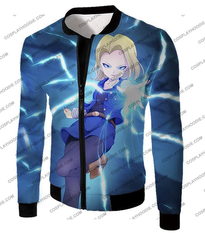 Image of Dragon Ball Super Extremely Pretty Android 18 Cool Fighter Anime Blue T-Shirt Dbs202 Jacket / Us Xxs