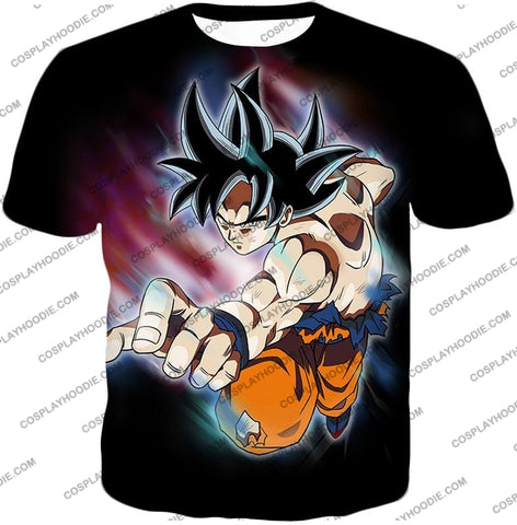 Image of Dragon Ball Super Ultimate Form Goku Ultra Instinct Cool Action Black T-Shirt Dbs204 / Us Xxs (Asian