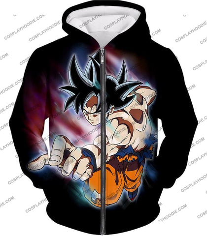 Image of Dragon Ball Super Ultimate Form Goku Ultra Instinct Cool Action Black T-Shirt Dbs204 Zip Up Hoodie /