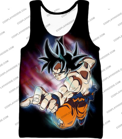 Image of Dragon Ball Super Ultimate Form Goku Ultra Instinct Cool Action Black T-Shirt Dbs204 Tank Top / Us