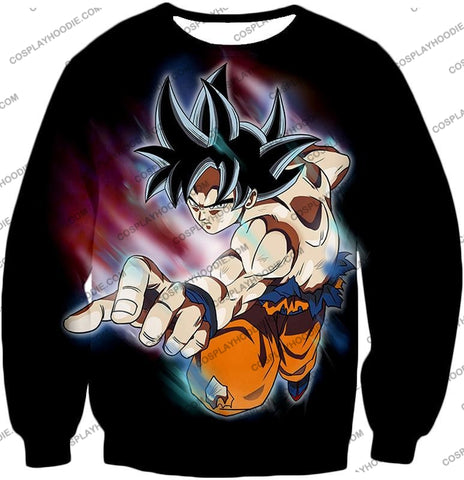 Image of Dragon Ball Super Ultimate Form Goku Ultra Instinct Cool Action Black T-Shirt Dbs204 Sweatshirt / Us