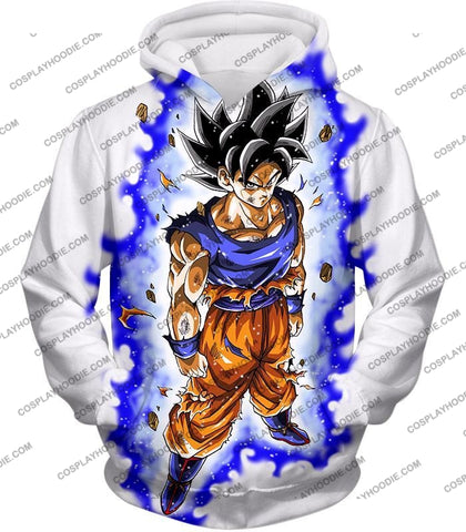 Image of Dragon Ball Super Latest Form Goku Ultra Instinct Cool Action White T-Shirt Dbs208 Hoodie / Us Xxs