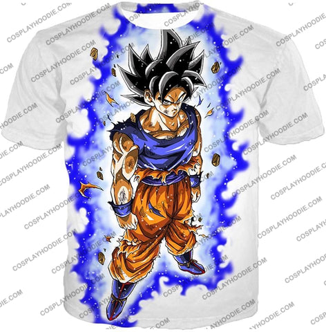 Image of Dragon Ball Super Latest Form Goku Ultra Instinct Cool Action White T-Shirt Dbs208 / Us Xxs (Asian